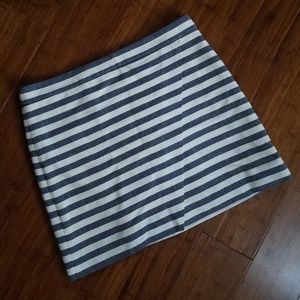 J. Crew blue & white striped faux wrap mini skirt